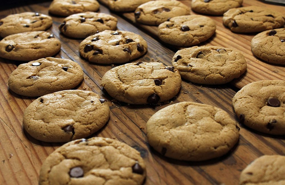 chocolate chip cookies on table