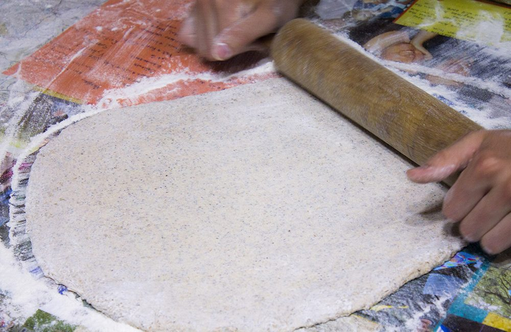 flat dough rolled out