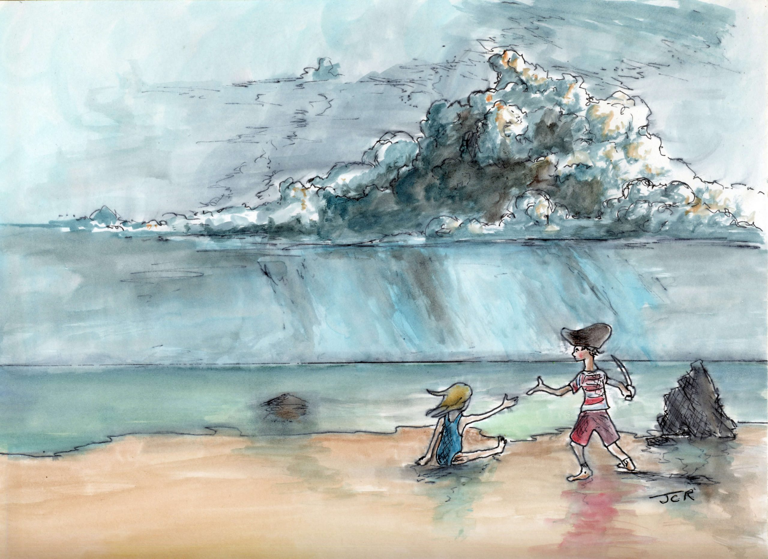 water color kids on beach