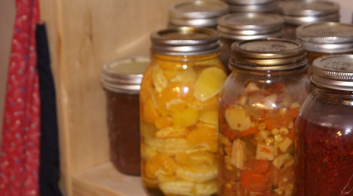 canned goods, soup, oranges