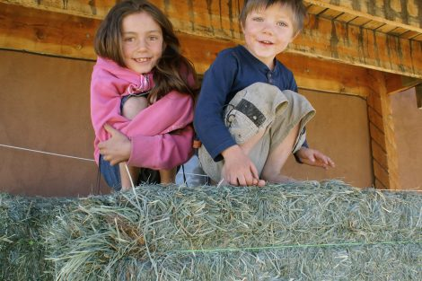 two kids on top of hay, grinning